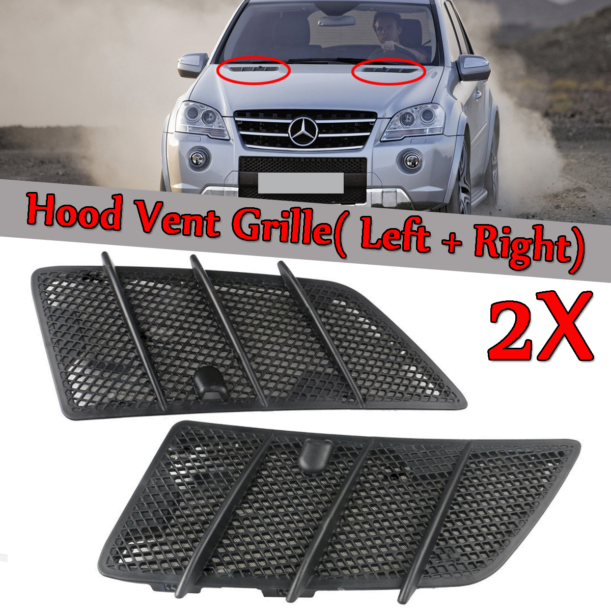 Left / Right Car Front Hood Vents Grille Black For Mercedes For Benz W164 ML / GL Class 2008-2011 Air Flow Intake Hoods grille