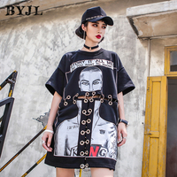 Korean Style Harajuku T Shirt Hip Hop Short Sleeve Everyday Cotton Black Printed Hipster Cool Casual Loose T shirt SZ6226