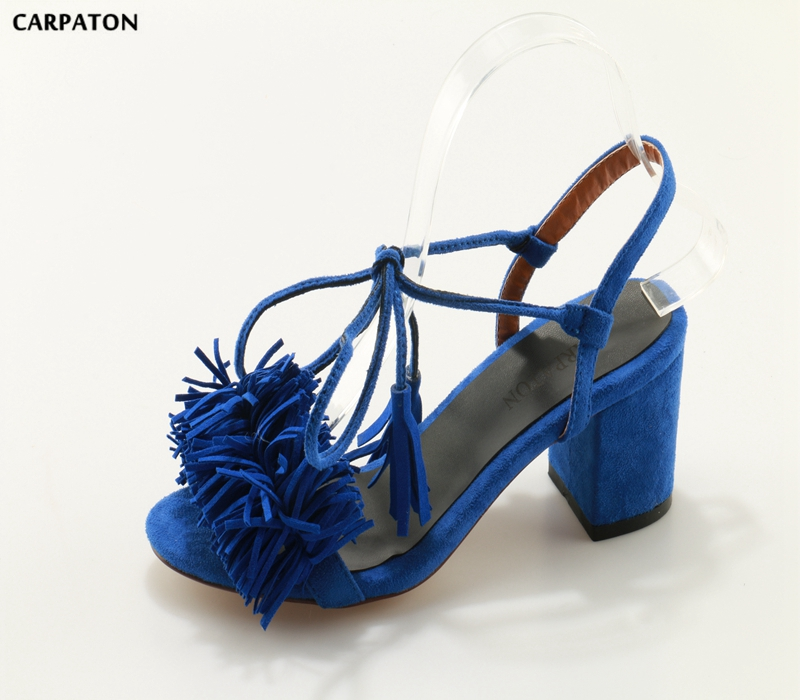 Здесь продается  Carpaton 2018 Newest Women Flock leather Pure blue sandals Mid Square  heels Ankle-wrap Pointed Toe with fringe Fashion Style  Обувь