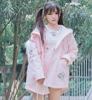 Cô gái Dễ Thương Mùa Đông Màu Hồng Dày Lên Phim Hoạt Hình Fake Fur Hood Bunny In Jacket Coat Outwear