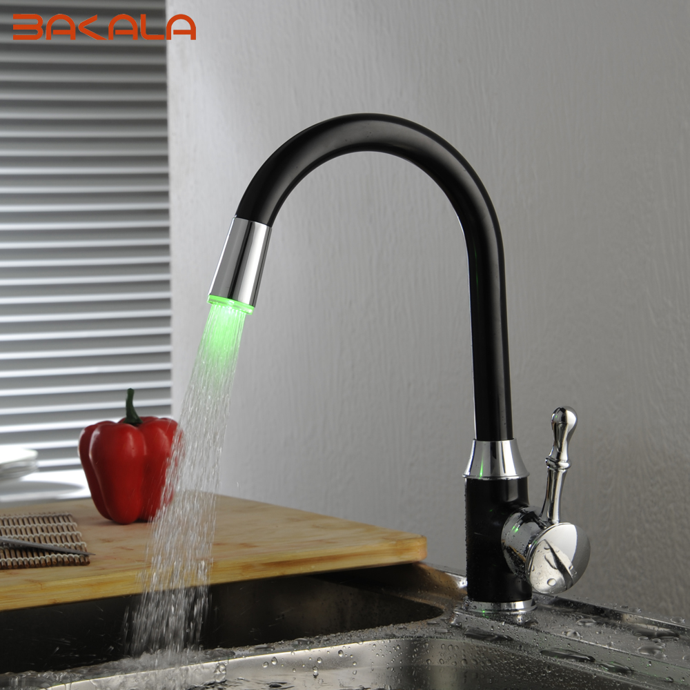 BAKALA Oil Rubbed Bronze LED Kitchen Faucets Swivel Sink Mixer Tap S 118