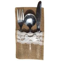 RESTIC Country Wedding Table Silverware Holder Burlap Cutlery Pockets Fork Pockets Rustic Wedding Supplies Jute Bags
