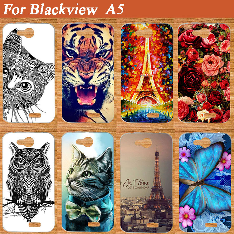 HOT ! Brilliant Painting Case For Blackview A5 A 5 Fashion 14 Patterns Lovely Tiger Cat etc. Animals cover case For BlackView a5