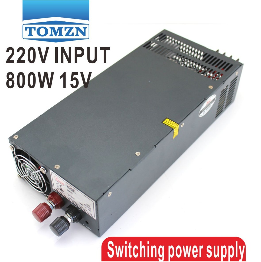 800W 0~15V adjustable 54A 220V INPUT Single Output Switching power supply for LED Strip light AC to DC led driver 60w 15v 15v 2a dual output adjustable switching power supply for led strip light ac dc converter