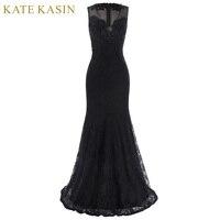 Kate Kasin Elegant Long Prom Dresses Floor Length Black Party Dress 2017 V Neck Evening Dress