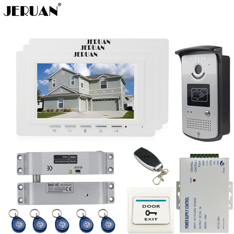 JERUAN luxury 7`` LCD  Video Door Phone three 700TVT Camera access Control System+Electric Bolt lock+Remote control Unlock jeruan black 8 lcd video door phone system 700tvt camera access control system cathode lock remote control 8gb card