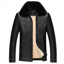 2019 Brand New Mens Leather Jacket PU Coats Clothing Thermal Outerwear Winter Fur Male Fleece Down Jackets