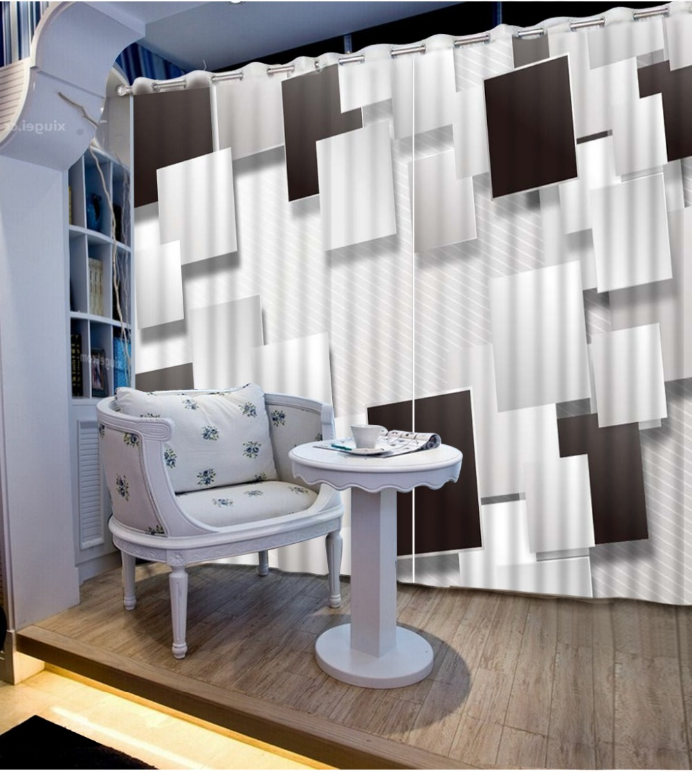 custom 3d curtains Black and white box window curtains home decor ...