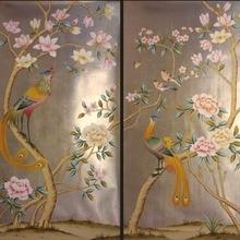 Роскошная ручная роспись золотой фольги обои живопись цветы с птицами ручная роспись обои много искусства/фон на выбор