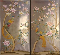 Luxurious Hand painted gold foil wallpaper painting flowers with birds HAND PAINTED wallpaper many arts/background optional