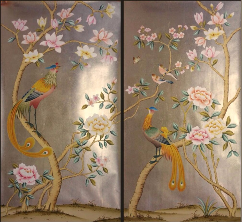 Luxurious Hand painted gold foil wallpaper painting flowers with birds HAND PAINTED wallpaper many arts/background optional hand painted silk wallpaper painting lotus with birds hand painted wall paper wallcovering many pictures backgrounds optional