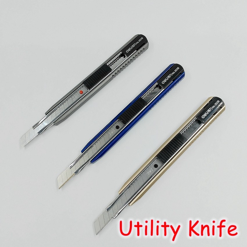 [Deli] Wholesale (12 Pieces/Lot) Deli High Quality Artist Metal Utility Knife Cutter Office School Stationery No.2036