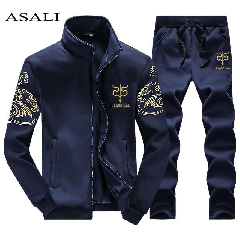 ASALI 2019 traje deportivo para hombre sudadera chándal sin Sudadera con capucha hombre Casual traje activo cremallera exterior 2 chaqueta + pantalones conjuntos