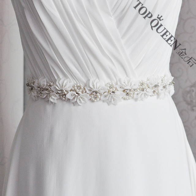 TOPQUEEN women's S232 Rhinestones Pearls Wedding evening dress sash Belts Bridal bride Belt Sashes for the party