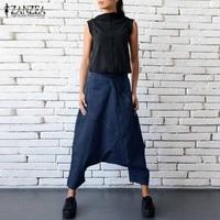 Hot Fashion Harajuku ZANZEA Zipper Mid Elastic Waist Long Harem Pants Female Autumn Drop Crotch Denim
