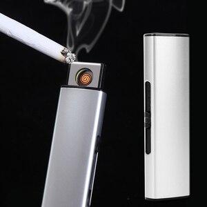 Image 2 - Livraison gratuite bande USB briquet Rechargeable électronique briquet métal allume cigare sans flamme Double face cigare Plasma