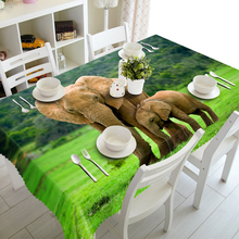 Washable cotton 3d Tablecloth African Steppe Elephant Animal Pattern Thicken Polyester Rectangular&Round Wedding Table Cloth