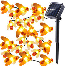 Waterproof 5M Solar Lights String 20 Led Honey Bee Shape Powered Fairy For Outdoor Garden Fence Summer Decoration