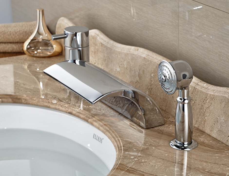 Luxury Chrome Finished Deck Mounted Bathroom Basin Faucet Waterfall Mixer Tap With Hand Shower bathroom basin faucet thermostatic bathroom crane water tap mixer with hand shower