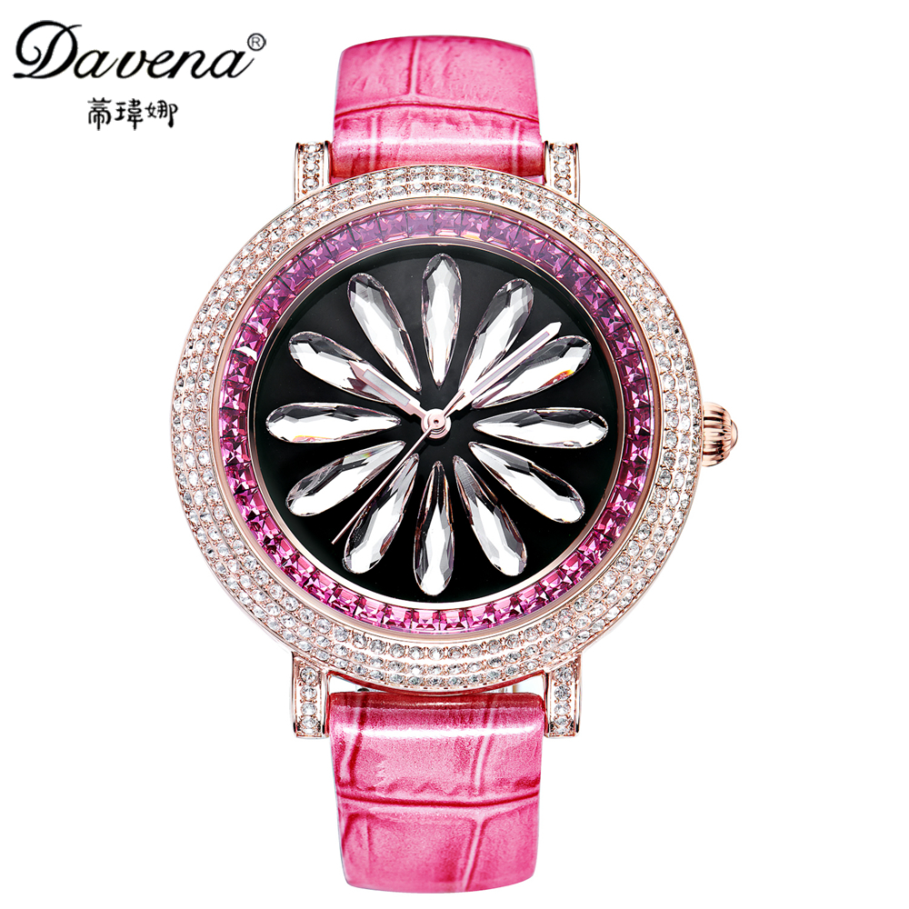 2017 Women Beautiful Bling Rhinestone Luxury Best Quality Crystal Watches Lady Leather Fashion Casual Quartz Watch Davena 31223 beautiful darkness