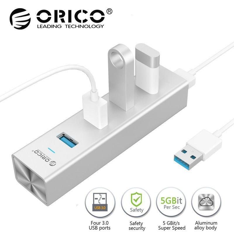 ORICO 4 Ports USB 3.0 HUB Aluminium 5 Gbps USB splitter Computer externe für huawei taube 10 Pro MAC Notebook laptops HUB USB 3.0