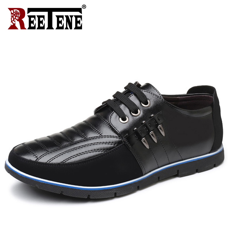 цена на REETENE Plus Size 37-48 Leather Casual Shoes Men High Quality Leather Men Casual Shoes Autumn Leather Shoes For Men Flat Shoes