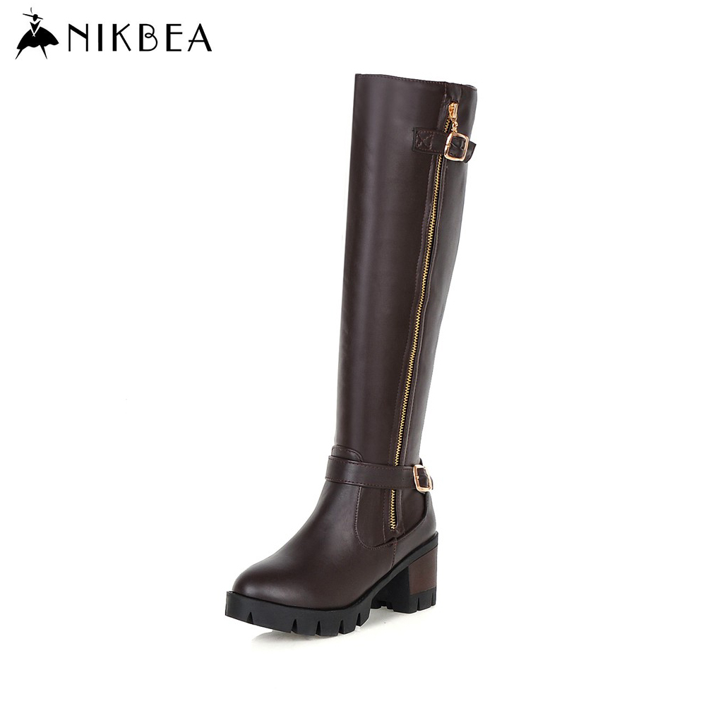 Nikbea 2016 Autumn Winter Warm Knee High Boots Handmade Large Size Botas Largas Mujer Chunky Heel Riding Boots Women Shoes Brown nikbea handmade genuine leather western boots cowboy large size women pointed toe boots 2016 autumn shoes fashion botas mujers