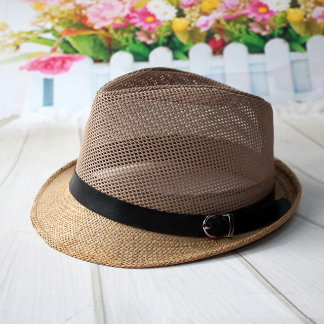 f0d199e505a415 Summer Men's Women's Accessories Cowboy Hats Beach Men Caps Panama Sun Hat  Belt Buckle Decorative Breathable Mesh Cap Straw Hat
