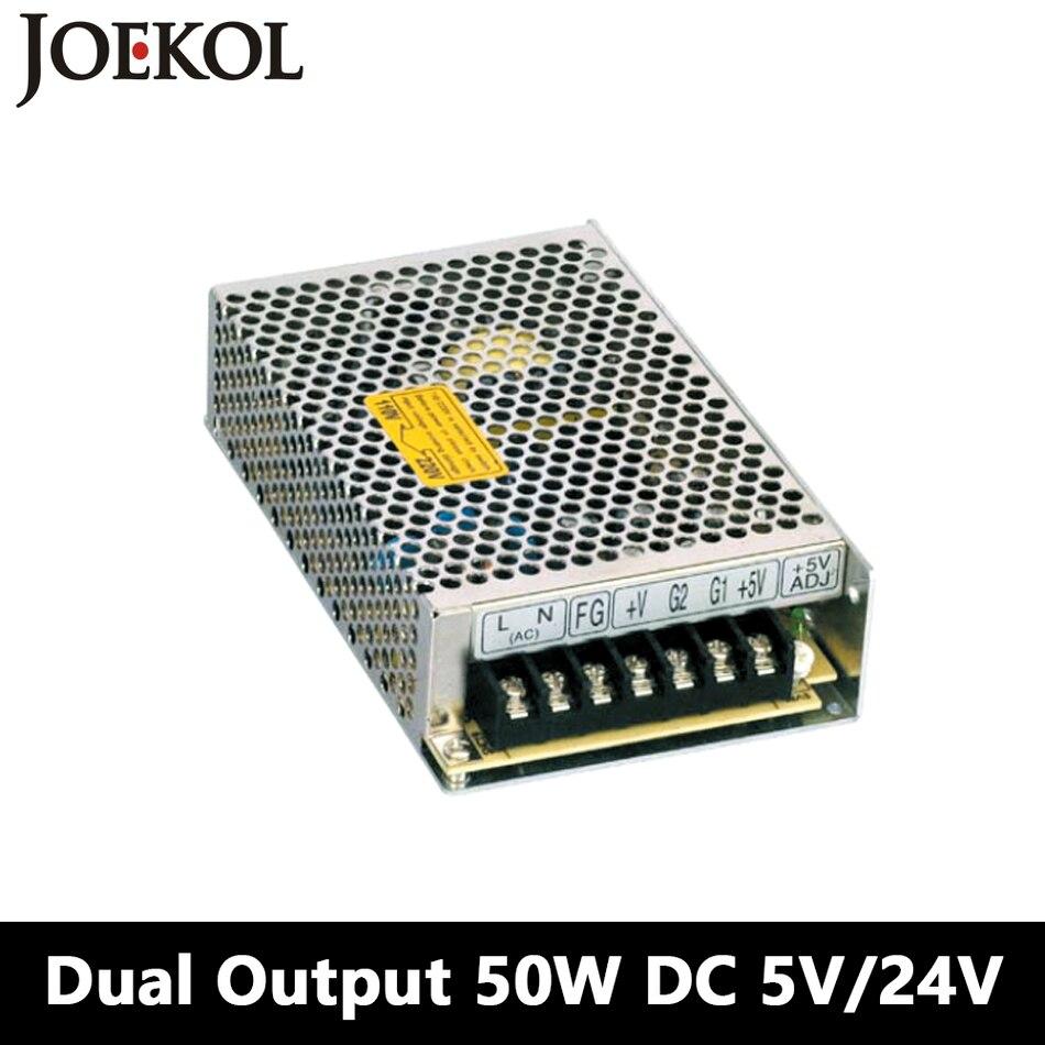 Switching Power Supply 50W 5V 24V,Dual Output Ac-dc Power Supply For Led Strip,voltage Converter 110v/220v To 5V/24V triple output switching power supply 30w 5v 12v 5v ac dc converter for led strip light 110v 220v transformer to dc 5v 12v 5v
