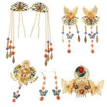 Phenovo 1 Set Alte Chinesische Blume Schmetterling Quaste Haar Kamm Haken Baumeln Ohrringe Stick Pin Opera Hochzeit Erklärung Schmuck