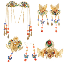 phenovo 1 Set Ancient Chinese Flower Butterfly Tassel Hair Comb Hook Dangle Earrings Stick Pin Opera Wedding Statement Jewelry