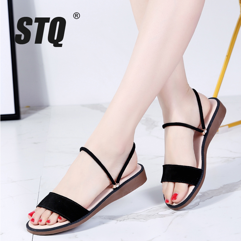 STQ Flat Sandals Black Rubber Low-Heel Women Ladies 547