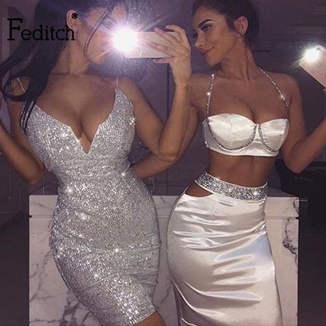 Feditch 2017 Women Bodycon Sexy Backless Vestidos Crop Top Two Piece Dress  Slash Neck Spaghetti Strap f8b270a21811