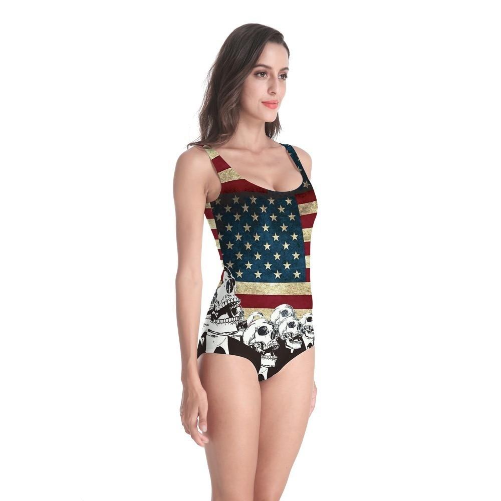2019 American Flag Swimwear Women One Piece 3D Prints Swimsuit Monokini Bodysuit Swimming Bathing Swim Swiming Suit Bikini Mujer in Body Suits from Sports Entertainment
