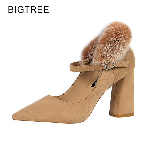 0b29731bcdc61 Aliexpress.com : Buy BigTree Caramel Pumps Women Shoes Sexy Party High  Heels Rabbit Fur 2018 Spring Strap Female Shoes Zapatos Mujer Size 34 39  from ...