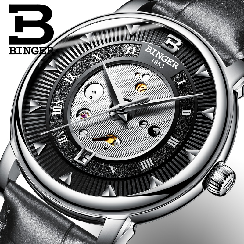 2017 New  Binger Business Mechanical Watches for Men Automatic Self-Wind Round Black Leather Strap 30m Water Resistant sweet elegant mary janes womens block high heel platform pumps lolita ankle strap shoes new 6 colors