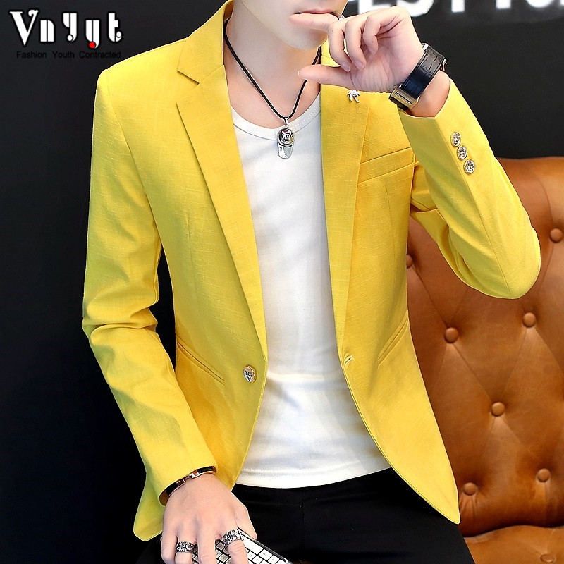 HO 2019 Men's Pure Color Blazer Men's Youth Spring Handsome Self-cultivation Blazer Trend Casual Simple