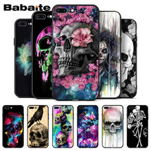 Fashion Retro Style Flower Skull Case Soft TPU Coque For Apple iPhone 8 7 6 6S Plus X XS MAX 5 5S SE XR Mobile Cover(China)