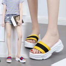 Summer new flat bottom pine cake and thick female cool slippers, light non-skid shoe student shoes