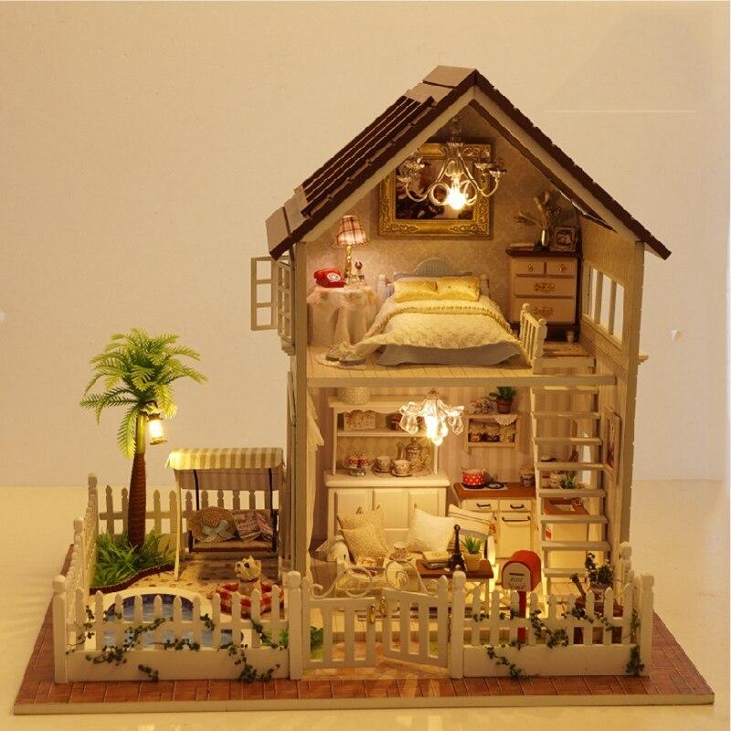 Сборка DIY Кукольный дом деревянный Кукольные домики миниатюрная поделки кукольный домик Мебель комплект номер светодиодные фонари подарок