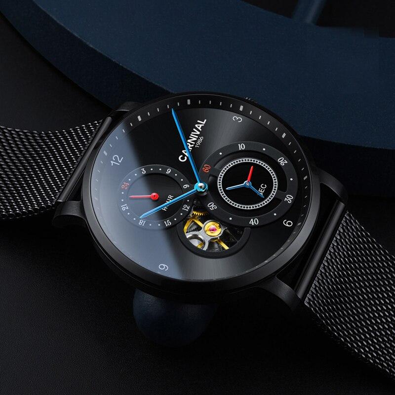 Carniva men relógio automático malha banda breve ultra fino pequenos segundos dial 24 horas relógio mecânico de luxo simples relógio de negócios - 3
