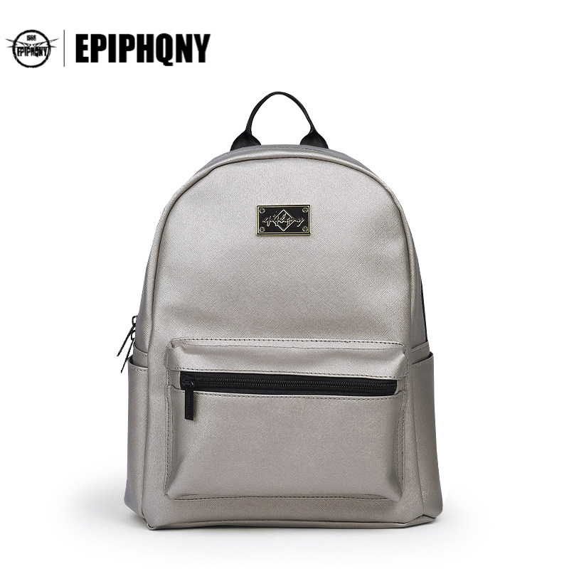 Epiphqny Brand Small Backpack Women PU Leather Daily Backbag With Grid Travel Bags Girls Packbag School