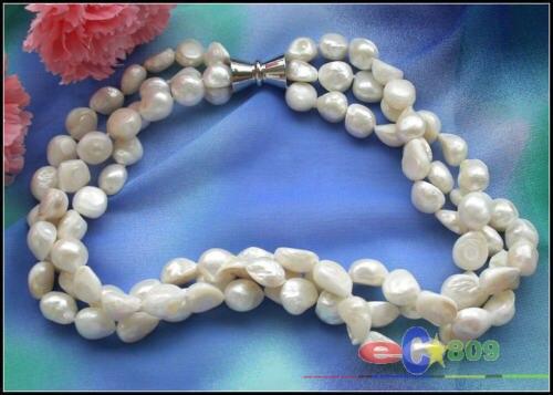 """100% Venta de Imagen completa 3row 17 """"10 MM barroco blanco de agua dulce COLLAR de perlas imán"""