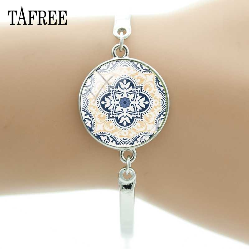 TAFREE Exquisite Azulejo Portugues Bracelets Portugal Glass Cabochon Dome Cuff Bracelet Women Decoration AP37