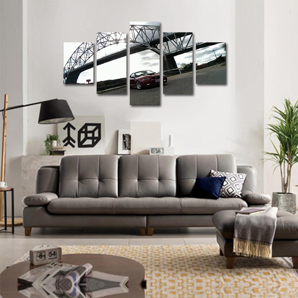 Unframed 5 panel HD Canvas Wall Art Giclee Painting Modern Bridge Trolley Landscape For Living Room Home Decor Unframed