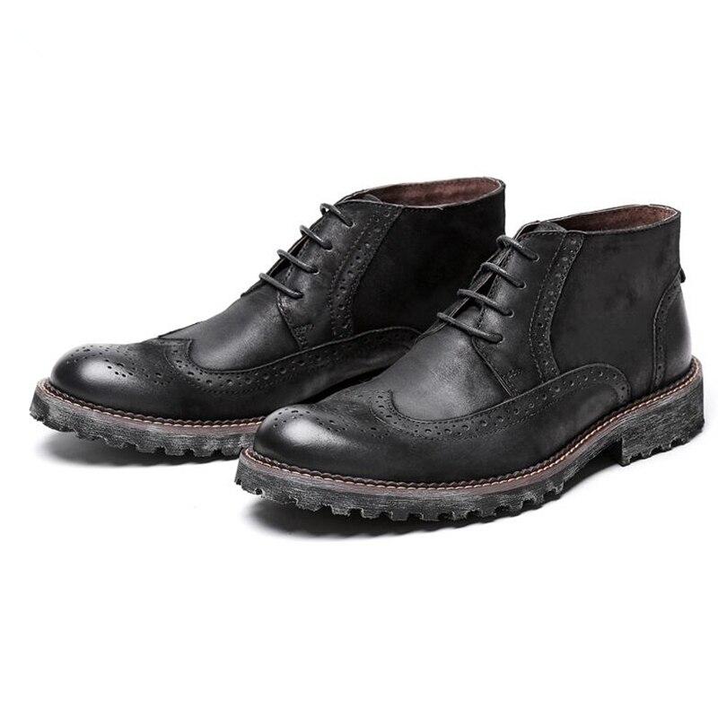 Nos tamaño 6 10 dos Tono de encaje de cuero genuino Formal vestido calado Oxford para hombre Casual punta de ala Oxford botas Martin botas-in Botas básicas from zapatos    2