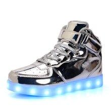 kids led shoes glowing sneakers Boys Light up Girls modis Patent Leather Children Light USB buty swiecace schoenen met lichtjes