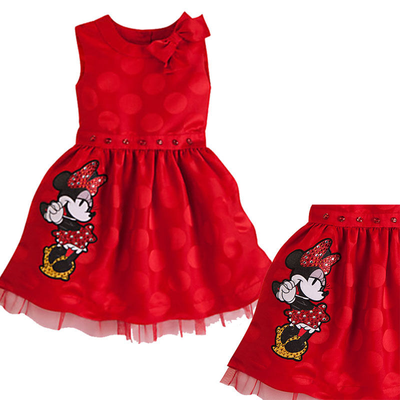 8e6ed5356 2016 Girl Formal Dress Cartoon Princess Baby Girls Clothes Mickey Minnie  Mouse Bow Character Summer Dresses For Kids Wholesale