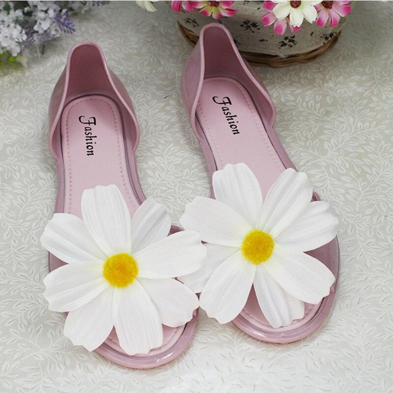 Angemessen Neue Heiße Sommer Peep Mund Schuhe Wasserdichte Hand Made Blumen Wohnungen Strand Hoilday Sandalen Komfortable Frauen Transparent Schuhe Die Neueste Mode
