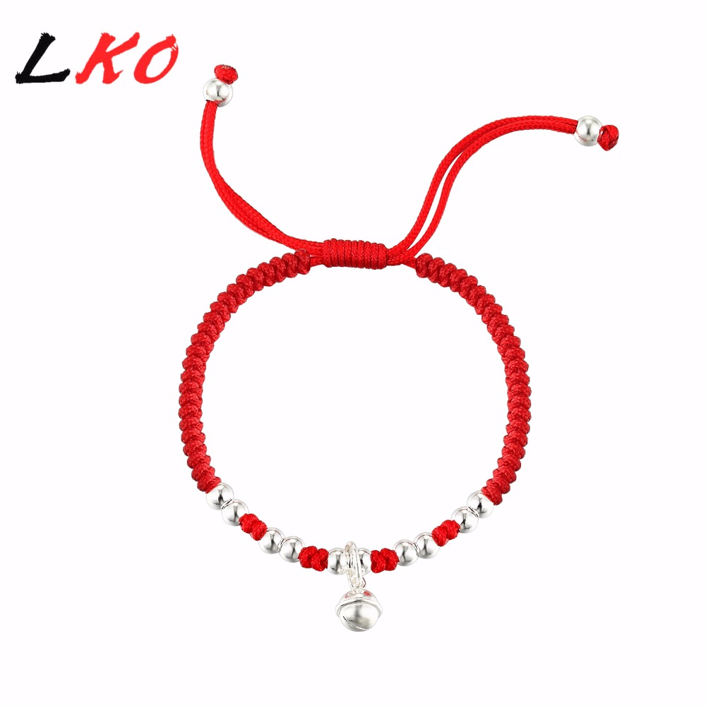 Lko S925 argent Sterling cloche chanceuse corde rouge perles en argent Bracelet pour homme et femmes beau Bracelet cadeau